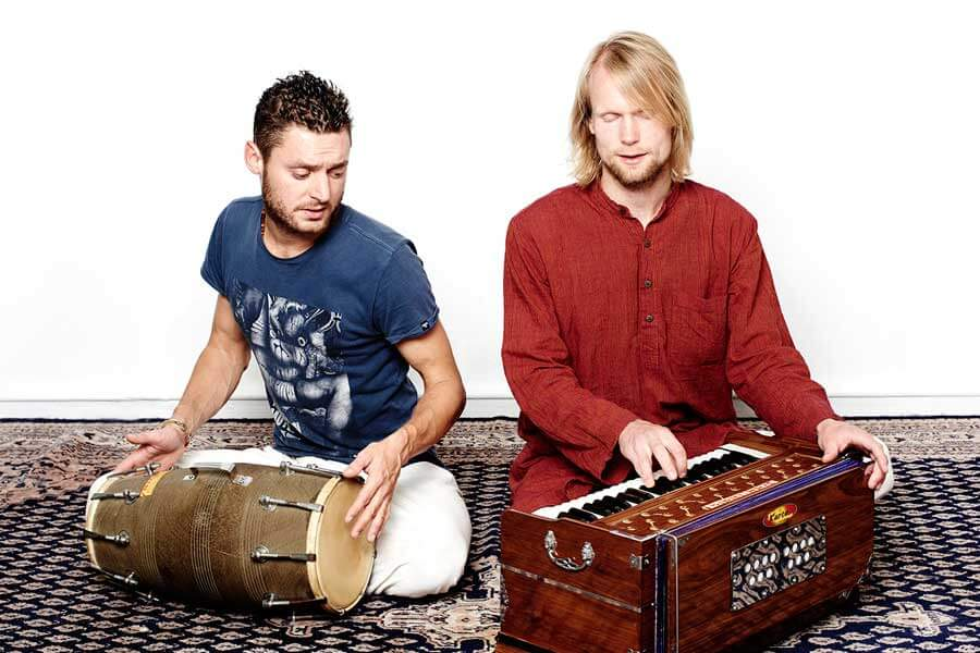 Remy (on Dholak) & Daan (on Harmonium)